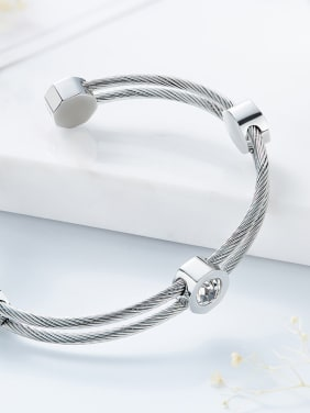 Simple Two-band Swarovski Crystals Opening Bangle