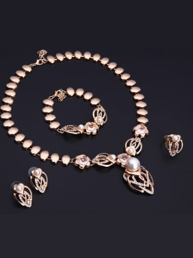 Alloy Imitation-gold Plated Fashion Artificial Pearl Four Pieces Jewelry Set
