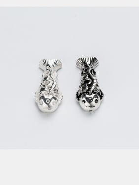 925 Sterling Silver With Silver Plated and Suyin Taiyin Foolish hollow fish horizontal perforation Beads