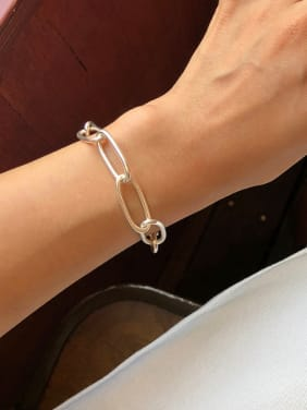 925 Sterling Silver With Platinum Plated Simplistic Round Chain Bracelets