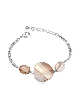 Simple Swarovski Crystals Platinum Plated Alloy Bracelet
