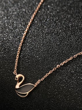 925 Sterling Silver With Rose Gold Plated Cute Swan Necklaces