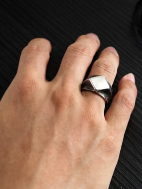 Stainless Steel With Smooth Personality Geometric Men Rings
