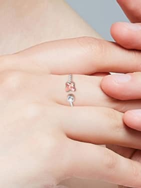 Fashion Butterfly Swarovski Crystal 925 Silver Opening Ring