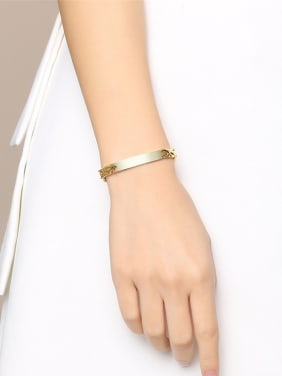 Stainless Steel With Gold Plated Simplistic Chain Bracelets