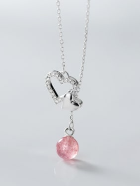 925 Sterling Silver With Platinum Plated Simplistic Hollow Heart Locket Necklace