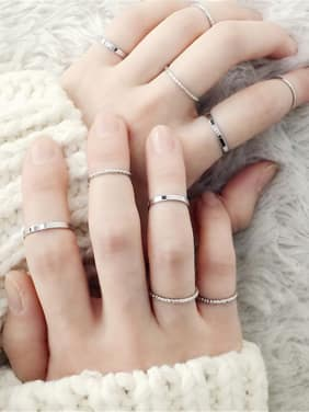 Alloy With Gold Plated Casual Round 10 sets of combined rings