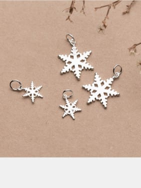 925 Sterling Silver With Silver Plated Romantic snowflake  Charms