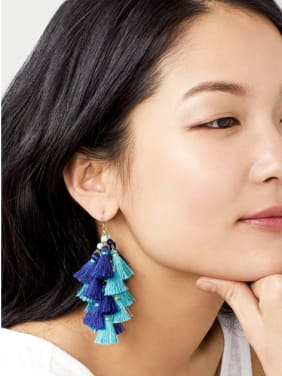 Exaggerate Blue Tassel Drop Chandelier earring