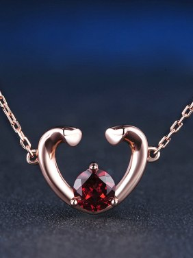 Heart-shape Natural Garnet Clavicle Necklace
