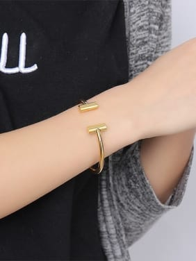 Fashionable Gold Plated Open Design Titanium Bangle
