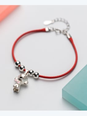 Sterling silver lovely dog hand-woven red thread bracelet