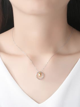 925 Sterling Silver With Simple glossy double circle Pendants necklace