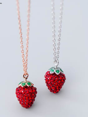 925 Sterling Silver With Rhinestone Fashion Strawberry Necklaces
