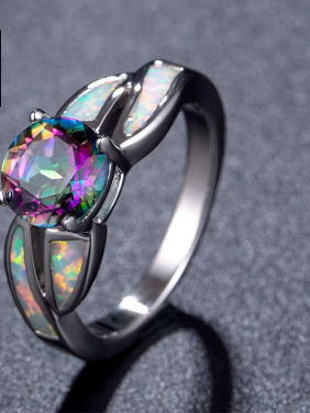 Colorful Natural Opal Fashion Women Alloy Ring