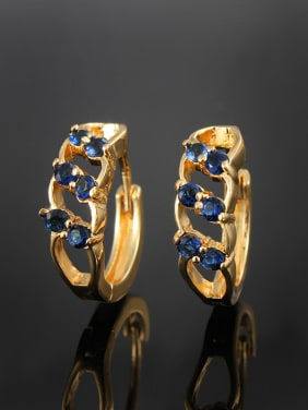 Trendy 18K Gold Plated Geometric Zircon Clip Earrings