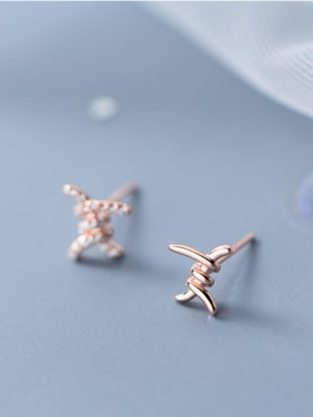 925 Sterling Silver With 18k Rose Gold Plated Trendy asymmetric Stud Earrings