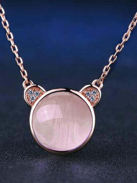 Lovely Bear-shape Pink Crystal Women Necklace