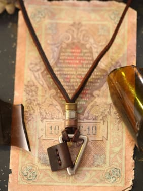 Couples Triangle Shaped Cownhide Leather Necklace