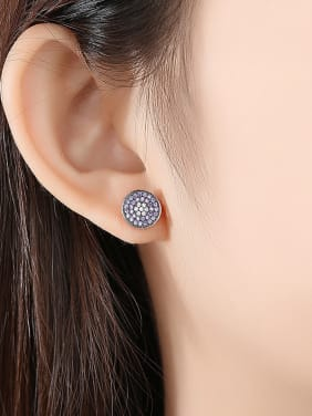 Copper With Gold Plated Simplistic Round Stud Earrings