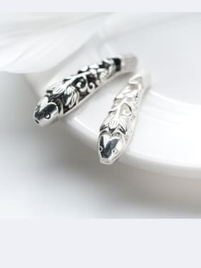 925 Sterling Silver With Silver Plated and Tai Silver& Hollow Lotus fish Bent Pipe