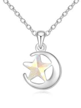 Fashion Swarovski Crystal Star Moon Pendant Alloy Necklace