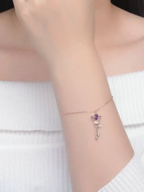Key-shape Natural Amethyst Rose Gold Plated Bracelet