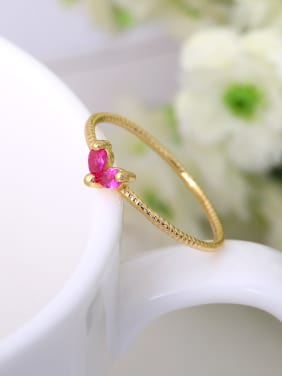 Temperament Red Zircon Geometric Shaped Ring