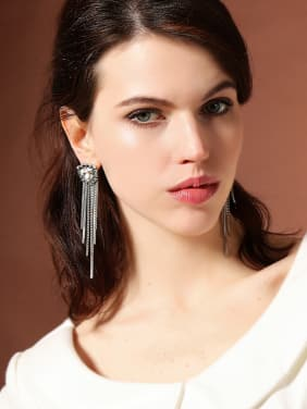 Retro Style Geometric Shaped Tassel Drop Earrings