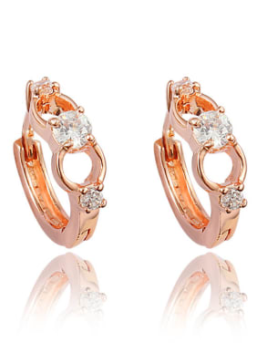 Elegant Rose Gold Plated White Zircon Clip Earrings
