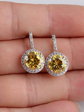 Europe And The United States Sterling Silver Ear Needle Zircon drop earring