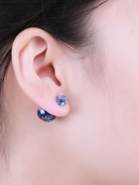 S925 silver 16m glass stud Earring are all-match Tremella nail