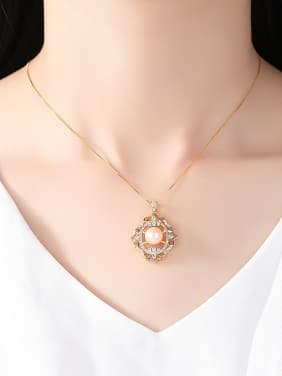 Sterling Silver 18K gold micro inlaid 3A zircon jewelry necklace