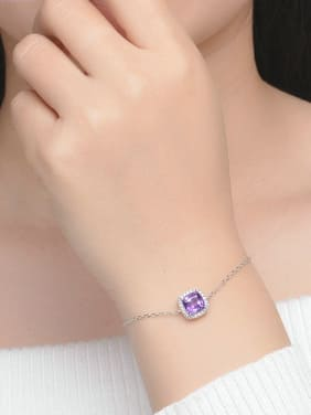 Square-shape Amethyst Accessories Platinum Plated Bracelet