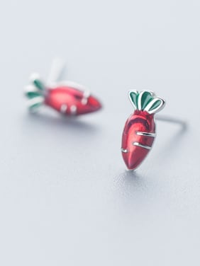 925 Sterling Silver With Enamel Cute Carrot Stud Earrings