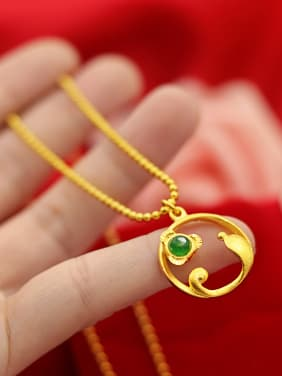 Women Dolphin Shaped Green Jade Necklace