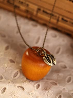Women Wooden Apple Shaped Necklace