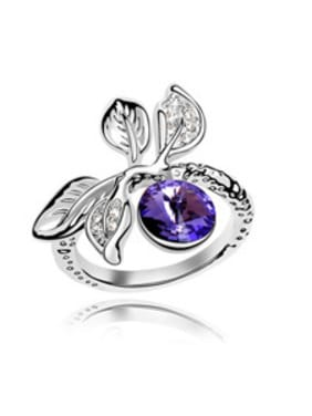 Personalized Leaves Cubic Swarovski Crystal Alloy Ring