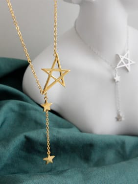 925 Sterling Silver With Smooth Simplistic Pentagram Necklaces