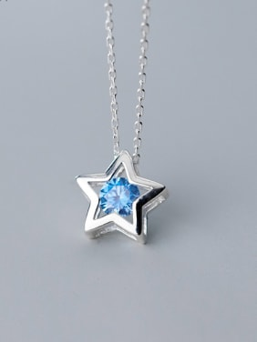 925 Sterling Silver With Platinum Plated Simplistic Star Necklaces
