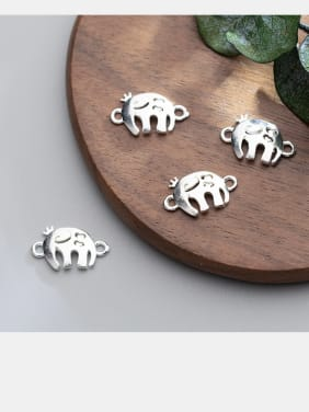 925 Sterling Silver With Silver Plated  Elephant Connectors