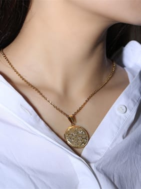 Stainless Steel With Gold Plated Simplistic Round Pattern Necklaces