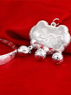 Ethnic style 999 Silver Chinese Dragon-etched Children Two Pieces Jewelry Set