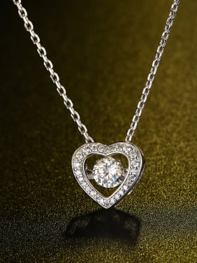 Fashion Zircon Heart-shaped Necklace