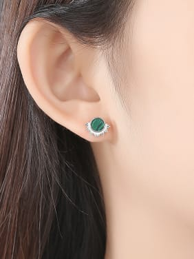 925 Sterling Silver With Platinum Plated Simplistic Malachite  Round Stud Earrings