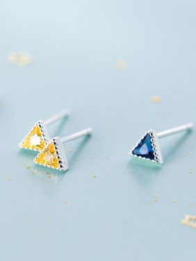 925 Sterling Silver With  Cubic Zirconia Fashion Triangle Stud Earrings