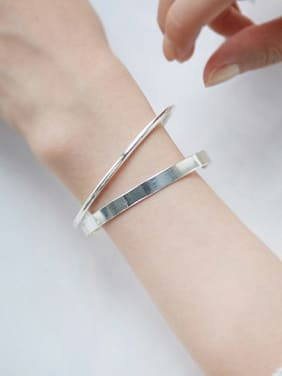 925 Sterling Silver With Silver Plated Simplistic Geometric opening Bangles