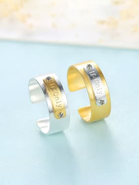 925 Sterling Silver With Two-tone  Simplistic Monogrammed  Free Size  Rings
