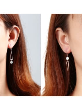 925 Sterling Silver With Shell Simplistic Triangle Drop Earrings