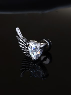 Stainless Steel With vintage Heart wing Stud Earrings